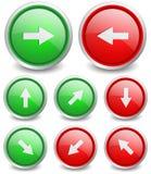 套8个普遍的按钮-箭头 免版税库存图片