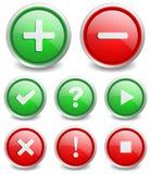 套8个普遍的按钮 免版税库存照片