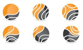 套Abstract Sphere Logo Rounded Globle Circular Logo Template Modern Company商标标志传染媒介 向量例证