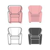 套colorfull和剪影扶手椅子 图库摄影