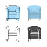 套colorfull和剪影扶手椅子 免版税库存图片