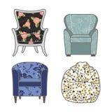 套colorfull和被仿造的传染媒介扶手椅子 免版税库存照片