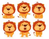 套emoji狮子漫画人物 皇族释放例证
