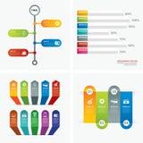 套infographic模板平的设计 免版税库存图片