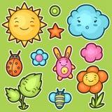 套kawaii乱画用不同的表情 春天汇集快乐的漫画人物太阳,云彩 库存照片