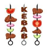 套kebab,肉末 传染媒介烤肉食物和鲜美烤肉 免版税图库摄影