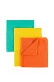 套Microfiber在白色的清洁毛巾 库存图片