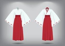 套miko衣服,传统日本服装 图库摄影