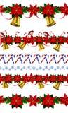 套n无缝的圣诞节边界 图库摄影