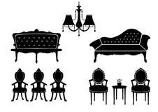 套sillhouettes葡萄酒扶手椅子和天花板灯,传染媒介例证 免版税图库摄影