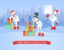 套snowmans圣诞节传染媒介背景 免版税库存照片