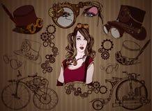 套steampunk的元素 免版税库存照片