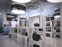 奢侈品商店室内设计与Contem提示的艺术装饰样式  向量例证