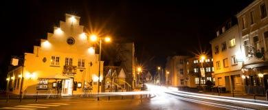 奥伊斯基兴nrw德国在冬天夜 免版税图库摄影