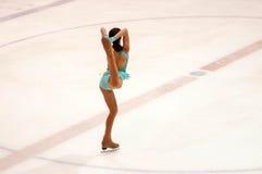 奥伦堡俄罗斯26 03 2016年:竞争女孩花样滑冰运动员 免版税图库摄影