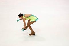 奥伦堡俄罗斯26 03 2016年:竞争女孩花样滑冰运动员 库存照片