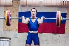"""奥伦堡,俄罗斯†""""16 01 2016年:重的竞技竞争反对男孩 免版税库存照片"""