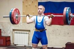 """奥伦堡,俄罗斯†""""16 01 2016年:重的竞技竞争反对男孩 库存图片"""