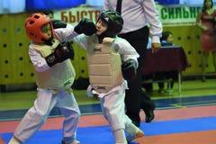 奥伦堡,俄罗斯- 2016年10月30日:孩子在Kobudo竞争 免版税库存图片
