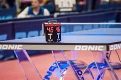 奥伦堡,俄罗斯- 03 04 2015年:乒乓球竞争 库存照片