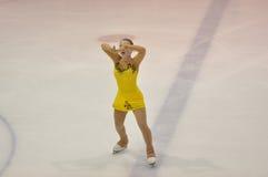 奥伦堡,俄罗斯- 26 03 2016年:女孩花样滑冰运动员 免版税库存照片