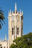 奥克兰大学钟楼上面特写镜头  库存图片