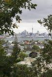 奥克兰市和港口,从Devonport的看法 免版税库存照片