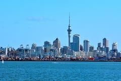 奥克兰市地平线Waitemata港口新西兰 免版税库存照片