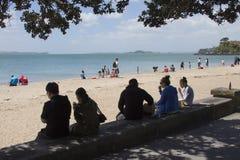 奥克兰,新西兰使命海湾  免版税库存图片