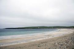 奥克尼海岸线在Skara斜坡的海洋海滩 库存图片