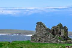 奥克尼群岛,什卡拉斜坡 新石器时代的废墟 库存图片