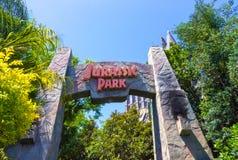 奥兰多,佛罗里达- 2018年5月09日:冒险主题乐园环球影业海岛的侏罗纪公园  免版税库存图片