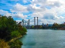 奥兰多,美国- 2014年1月02日:在冒险主题乐园环球影业海岛的主题的吸引力  免版税库存照片