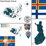 奥兰群岛,芬兰地图  免版税库存图片