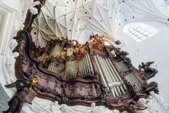 奥利瓦Archcathedral巨大器官在格但斯克 图库摄影