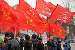 奥勒尔号,俄罗斯- 2015年12月05日:卡车司机纠察队员 人群  库存图片