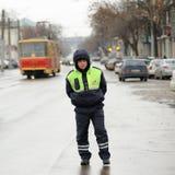 奥勒尔号,俄罗斯- 2015年12月05日:卡车司机纠察队员 路波尔布特 库存照片