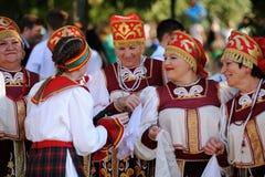 奥勒尔号,俄罗斯- 2016年8月05日:奥勒尔号市天 妇女歌手 免版税图库摄影