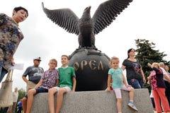 奥勒尔号,俄罗斯- 2016年8月03日:老鹰雕象开幕式 B 免版税库存照片