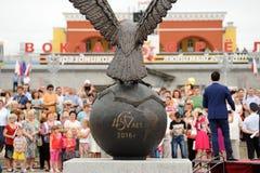 奥勒尔号,俄罗斯- 2016年8月03日:老鹰雕象开幕式 C 免版税库存图片