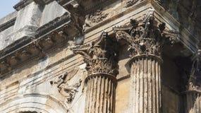 奥古斯都寺庙在镇中心在普拉城市在克罗地亚 免版税库存图片