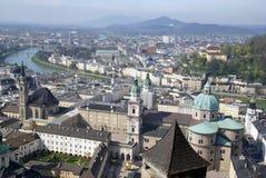 奥地利中心历史萨尔茨堡视图 免版税库存图片
