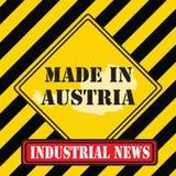 奥地利制造黄色标志 库存照片
