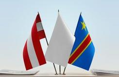 奥地利和刚果民主共和国DRC, DROC,刚果金沙萨旗子  免版税库存照片