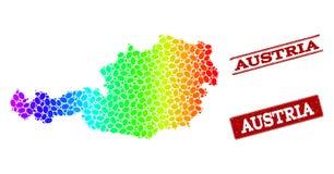 奥地利和难看的东西邮票封印被加点的光谱地图  库存例证