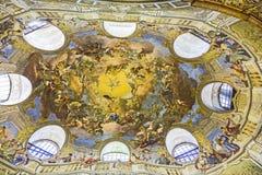 奥地利国立图书馆天花板在维也纳 库存照片