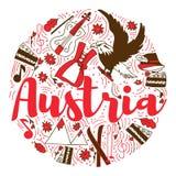 奥地利地标旅行和旅途Infographic传染媒介设计 奥地利国家设计模板 免版税库存图片