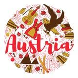 奥地利地标旅行和旅途Infographic传染媒介设计 奥地利国家设计模板 免版税库存照片