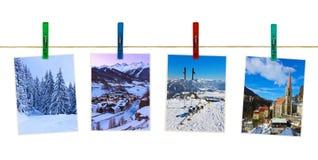 奥地利山在晒衣夹的滑雪摄影 库存图片