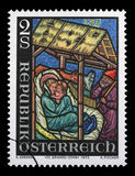 奥地利打印的圣诞节邮票,展示诞生 库存图片